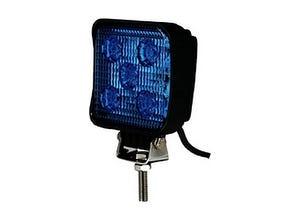 Phare de travail bleu LED carré
