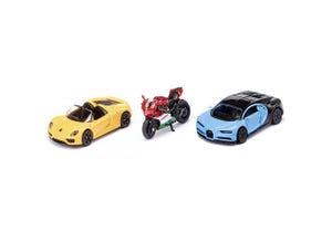 Coffret cadeau 2 voitures de sport et moto