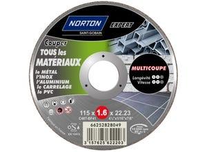 Disque à tronçonner métal/matériaux 115x1,6x22,2