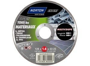 Disque à tronçonner métal/matériaux 125x1,6x22,2