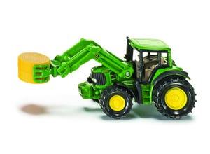 Tracteur JOHN DEERE pince à balles vert modèle réduit