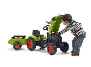Tracteur Claas avec remorque et capot ouvrant