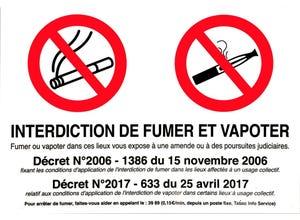 """Panneau signal. """"interdiction de fumer et vapoter"""" pvc"""